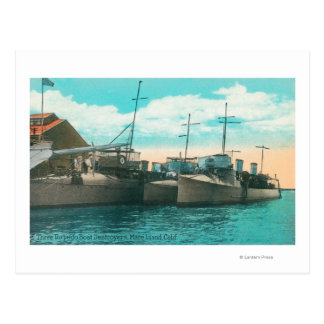View of Three Torpedo Boat Destroyers in Dock Postcard