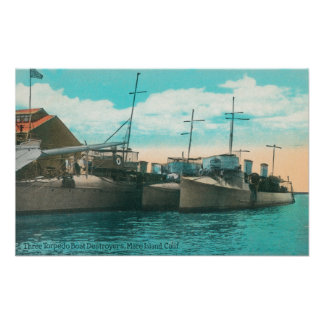 View of Three Torpedo Boat Destroyers in Dock Poster