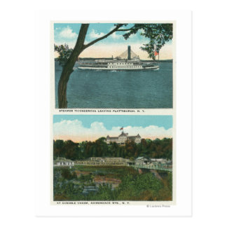 View of Ticonderoga Steamer and Ausable Chasm Postcard