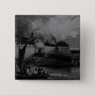 View of Tilbury Fort, engraved by H. Adhard Pinback Button