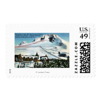 View of Timberline Lodge, Mt Hood in Winter Postage