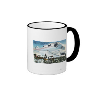 View of Timberline Lodge, Mt Hood in Winter Ringer Mug