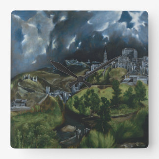 View of Toledo by El Greco Square Wall Clock