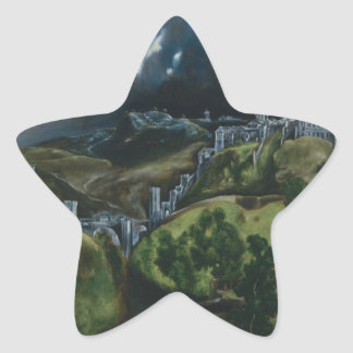 View of Toledo by El Greco Star Sticker