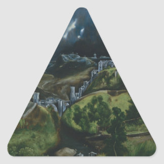 View of Toledo by El Greco Triangle Sticker