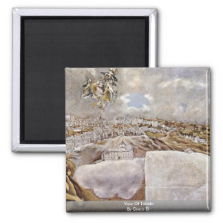 View Of Toledo By Greco El 2 Inch Square Magnet