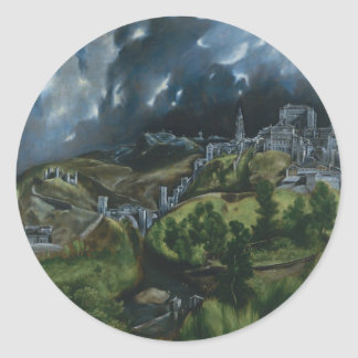 View of Toledo Classic Round Sticker