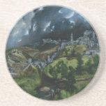 View of Toledo, El Greco Beverage Coaster