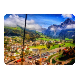 View of town below a cable car in Switzerland Card