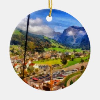 View of town below a cable car in Switzerland Ceramic Ornament
