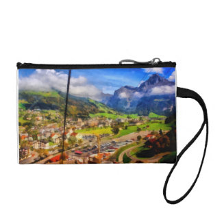 View of town below a cable car in Switzerland Change Purse
