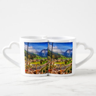 View of town below a cable car in Switzerland Coffee Mug Set