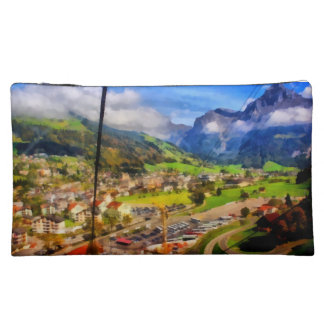 View of town below a cable car in Switzerland Cosmetic Bag