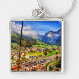 View of town below a cable car in Switzerland Keychain