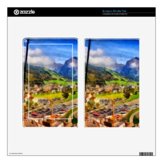 View of town below a cable car in Switzerland Kindle Fire Skins