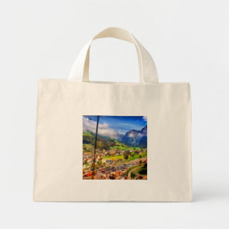 View of town below a cable car in Switzerland Mini Tote Bag