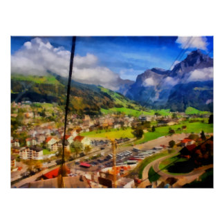 View of town below a cable car in Switzerland Poster