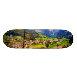 View of town below a cable car in Switzerland Skateboard