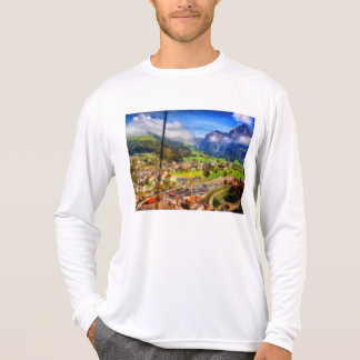 View of town below a cable car in Switzerland T-Shirt
