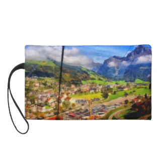 View of town below a cable car in Switzerland Wristlet
