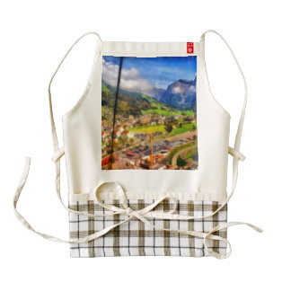 View of town below a cable car in Switzerland Zazzle HEART Apron