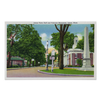 View of Town Hall and Paterson Monument Poster