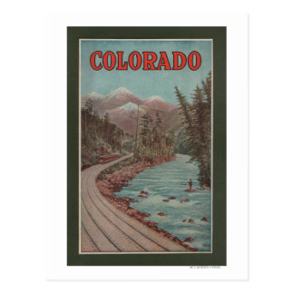 View of Train Alongside River - Travel Poster Postcard