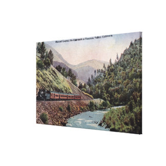 View of Train Entering Yosemite Valley Canvas Print