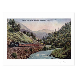 View of Train Entering Yosemite Valley Postcard