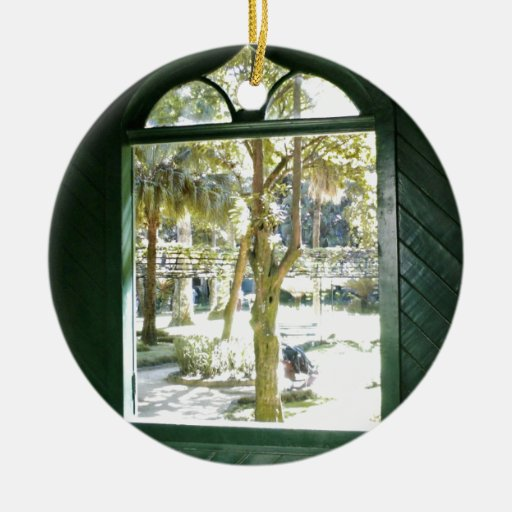 View of trees through window christmas tree ornament