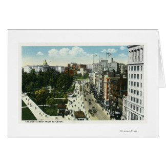 View of Tremont Street from Boylston Greeting Card