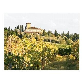 View of Tuscany Chianti Vineyard Villa Postcard