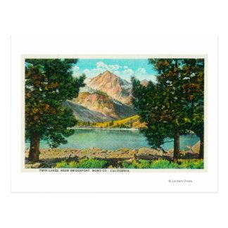 View of Twin Lakes near Bridgeport Postcard