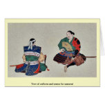 View of uniform and armor for samurai greeting cards