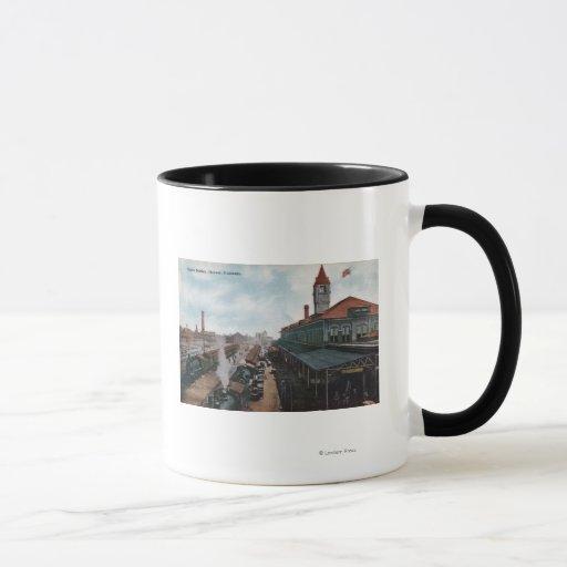 View of Union Station Railroad Mug