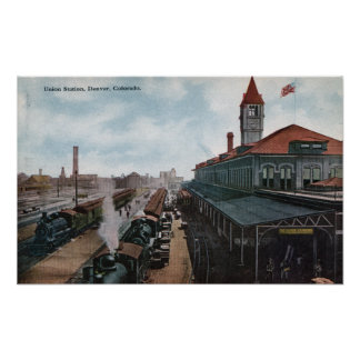 View of Union Station Railroad Poster