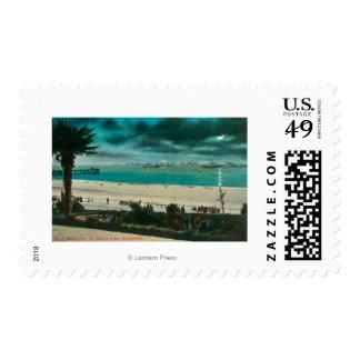 View of US Warships in the OceanSanta Cruz, CA Stamps