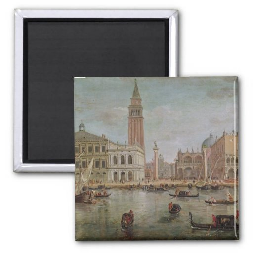 View of Venice, 1719 2 Inch Square Magnet