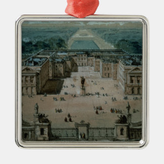 View of Versailles Square Metal Christmas Ornament