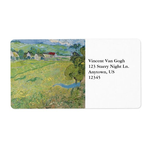 View of Vessenots Near Auvers by Vincent Van Gogh Shipping Label