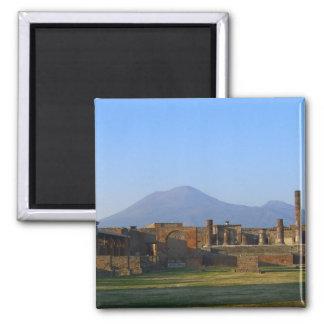 View Of Vesuvius Over The Ruins Of Pompeii 2 Inch Square Magnet