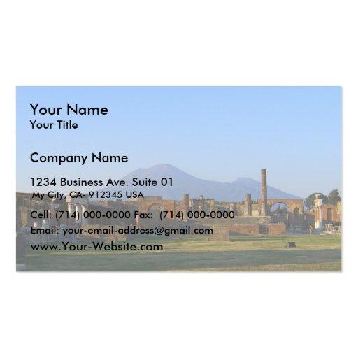 View Of Vesuvius Over The Ruins Of Pompeii Double-Sided Standard Business Cards (Pack Of 100)