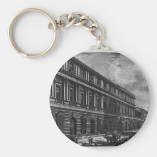 View of Via del Corso, the Palace of the Academy Basic Round Button Keychain