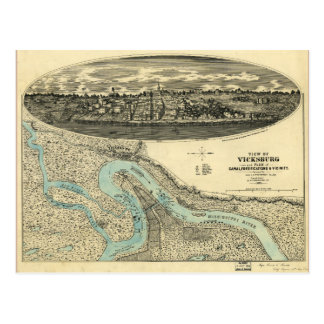 View of Vicksburg Mississippi Map (1863) Postcard