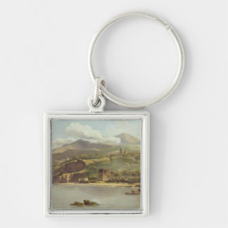 View of Vico Estense from Sorrento looking towards Silver-Colored Square Keychain