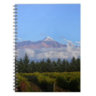 View Of Vineyard With Mountain On Background Spiral Notebook