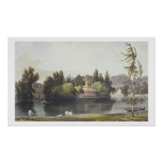 View of Virginia Water with Garden Temples, from ' Poster