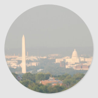 View of Washington DC Monument and Capitol Classic Round Sticker