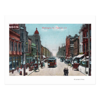 View of Washington Street with Cable Cars Postcard