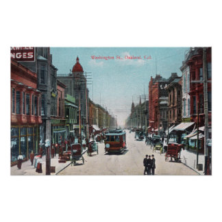 View of Washington Street with Cable Cars Poster